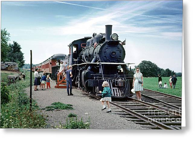 Steam Locomotive Alco 2-8-0  18 For The Arcade And  Attica Railroad Greeting Card by Wernher Krutein