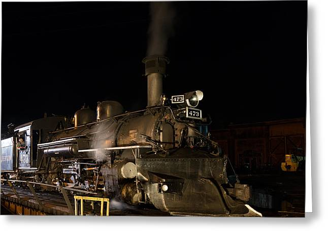 Greeting Card featuring the photograph Locomotive And Coal Tender On A Turntable Of The Durango And Silverton Narrow Gauge Railroad by Carol M Highsmith