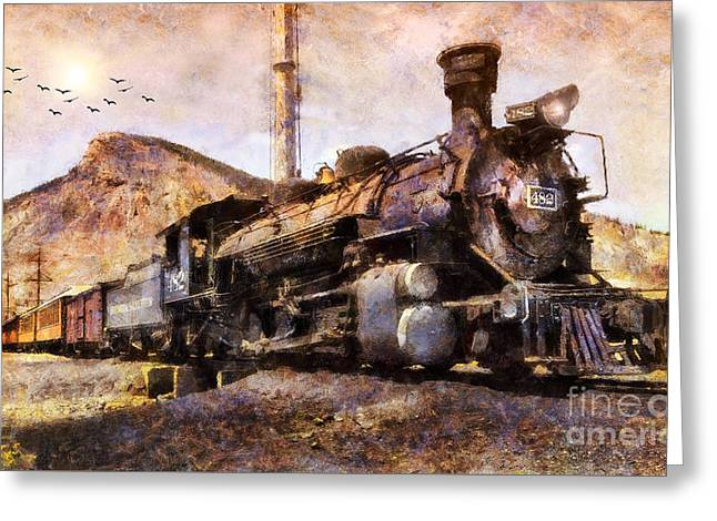 Greeting Card featuring the digital art Steam Locomotive by Ian Mitchell