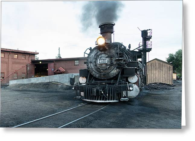 Greeting Card featuring the photograph Steam Locomotive In The Train Yard Of The Durango And Silverton Narrow Gauge Railroad In Durango by Carol M Highsmith