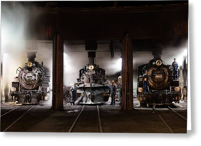 Greeting Card featuring the photograph Steam Locomotives In The Roundhouse Of The Durango And Silverton Narrow Gauge Railroad In Durango by Carol M Highsmith