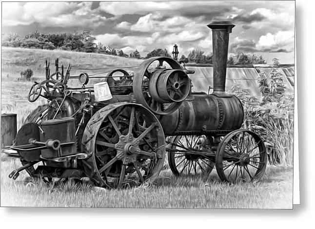 Steam Powered Tractor - Paint Bw Greeting Card