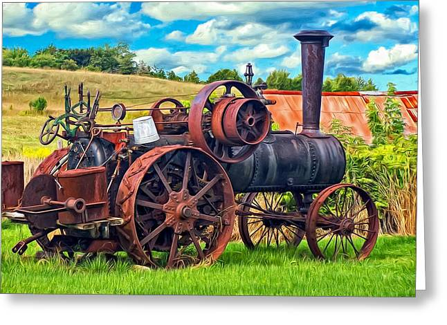 Steam Powered Tractor - Paint Greeting Card
