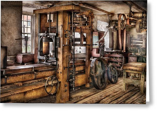 Best Sellers -  - Mechanism Photographs Greeting Cards - Steam Punk - The Press Greeting Card by Mike Savad