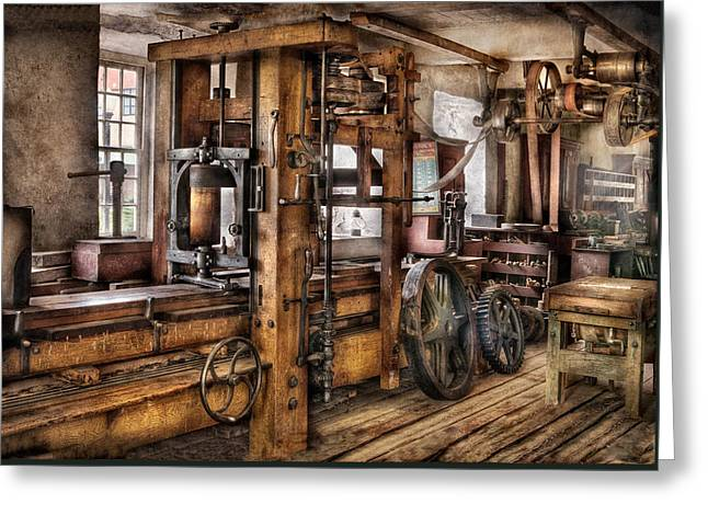 Steam Punk - The Press Greeting Card by Mike Savad