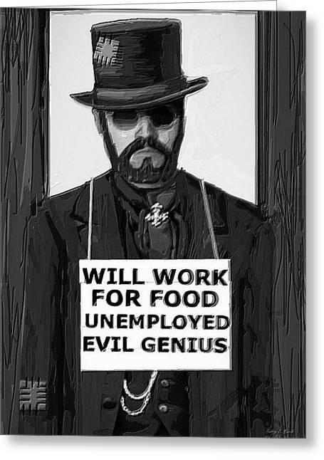 Steam Punk Evil Genius Greeting Card by Larry Lamb