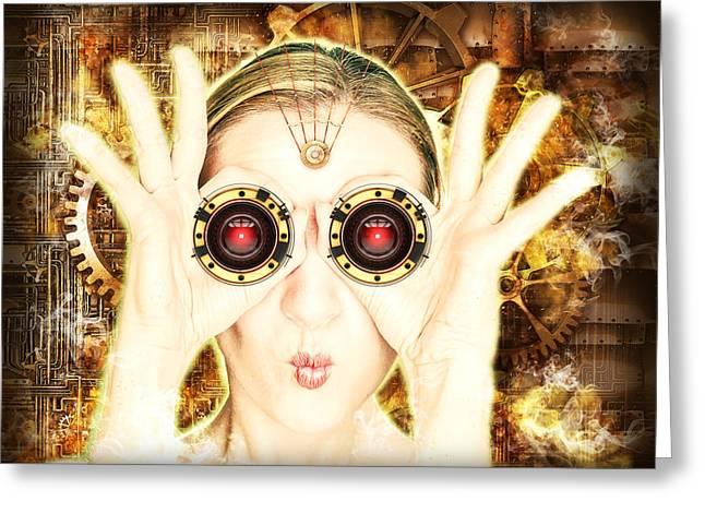Steam Punk Lady With Bins Greeting Card