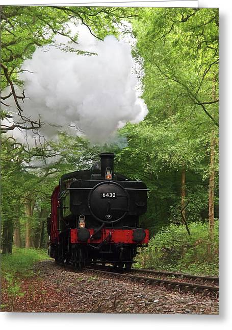 Steam Train Approaching In The Forest Greeting Card by Gill Billington