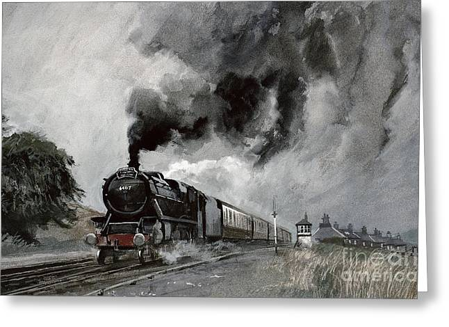 Steam Train At Garsdale - Cumbria Greeting Card by John Cooke