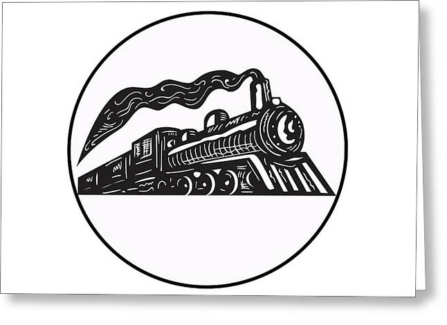 Steam Train Locomotive Coming Up Circle Woodcut Greeting Card by Aloysius Patrimonio