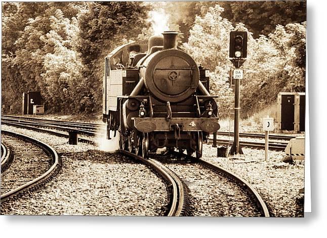 Steam Train Greeting Card by Martina Fagan