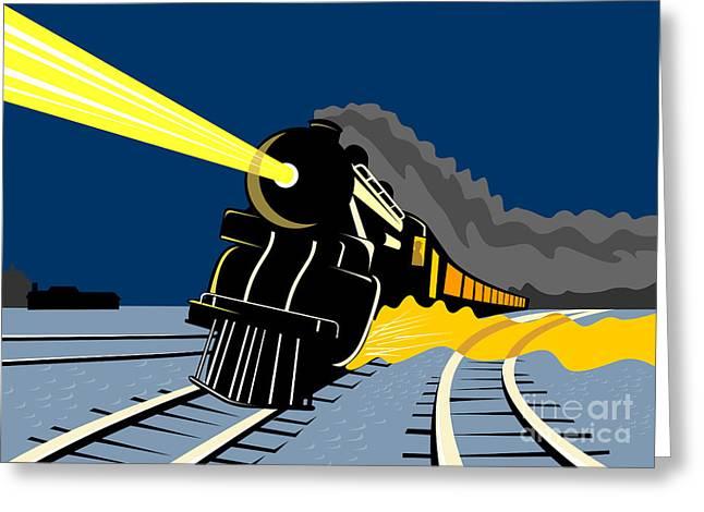 Steam Train Night Greeting Card by Aloysius Patrimonio