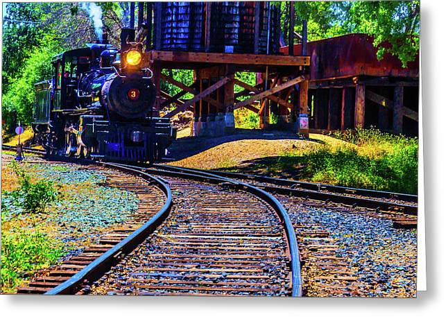 Steam Train No 3 On The Rails Greeting Card