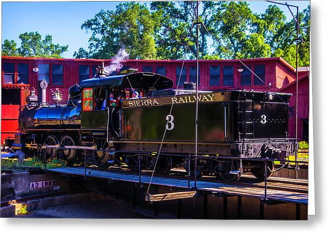 Steam Train No 3 On The Turntable Greeting Card
