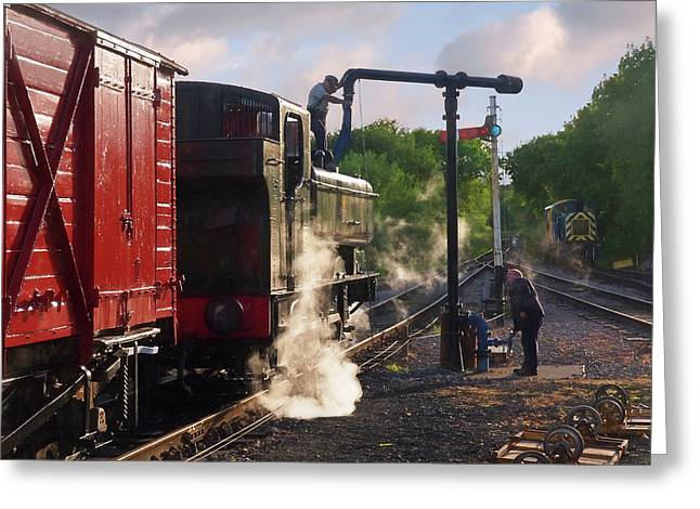 Steam Train Taking On Water Greeting Card by Gill Billington