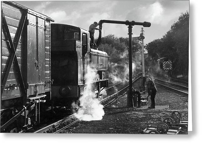 Steam Train Taking On Water In Mono Greeting Card by Gill Billington