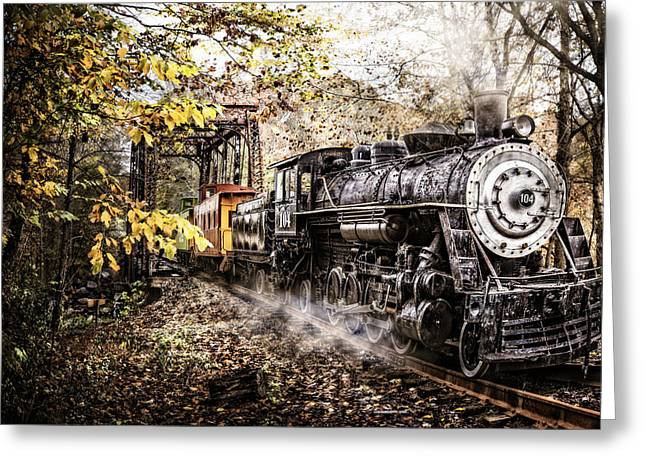 Steam Train's Coming Greeting Card by Debra and Dave Vanderlaan
