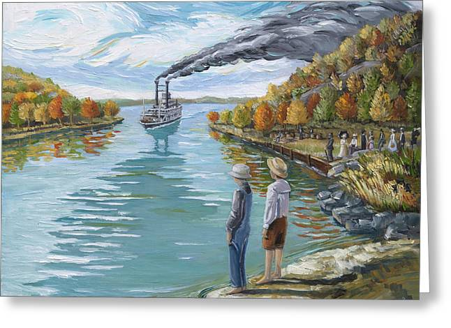 Steamboat Around The Bend Greeting Card by Paula Blasius McHugh