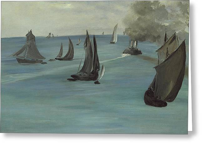 Steamboat Leaving Boulogne Greeting Card by Edouard Manet