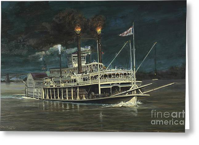 Steamboat On Mississippi Greeting Card by Don Langeneckert