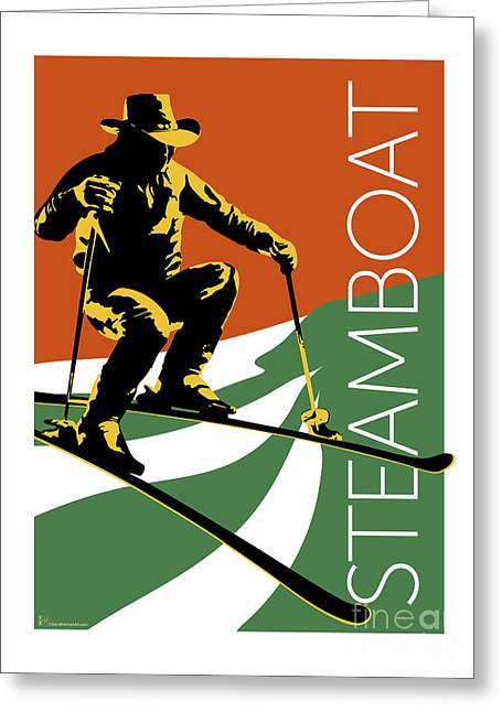 Greeting Card featuring the digital art Steamboat Orange by Sam Brennan