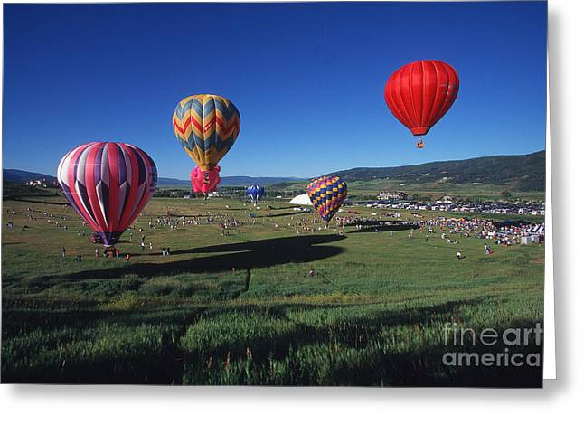 Steamboat Springs Balloon Festival Greeting Card by Stan and Anne Foster