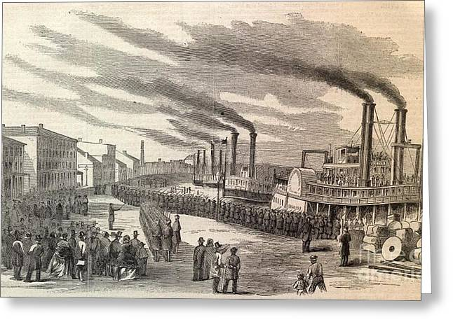 Steamboats Bringing In Troops Greeting Card by Frederick Holiday