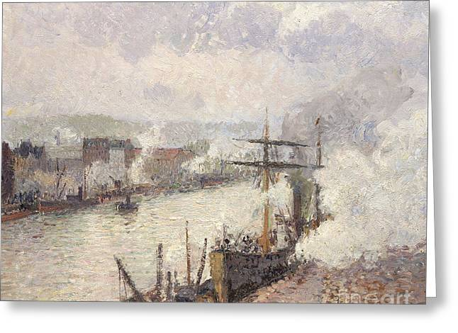 Steamboats In The Port Of Rouen, 1896  Greeting Card by Camille Pissarro