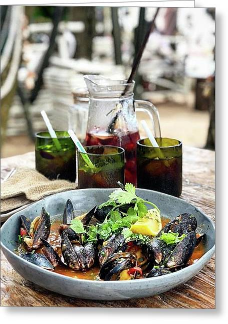 Steamed Black Mussells And Paradise Greeting Card by Arya Swadharma