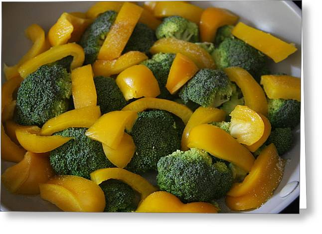 Greeting Card featuring the photograph Steamed Broccoli And Peppers by Vadim Levin
