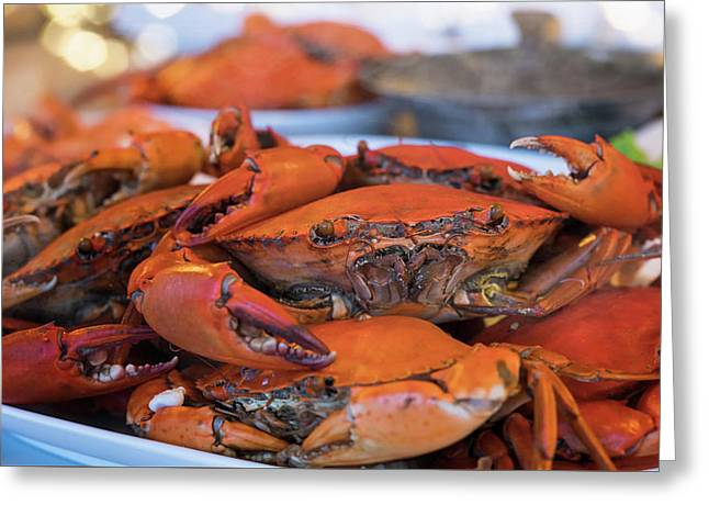 Steamed Crab Stack Many Crab On Plate Greeting Card