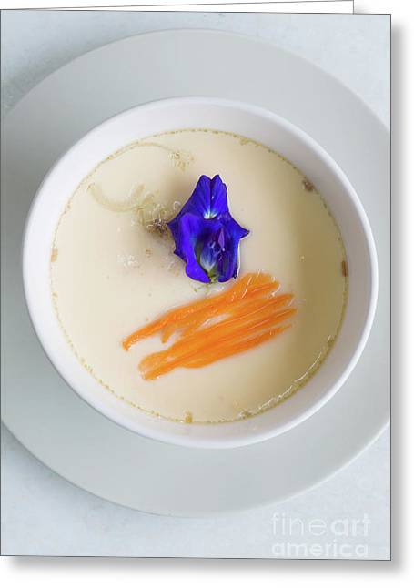 Greeting Card featuring the photograph Steamed Egg by Atiketta Sangasaeng