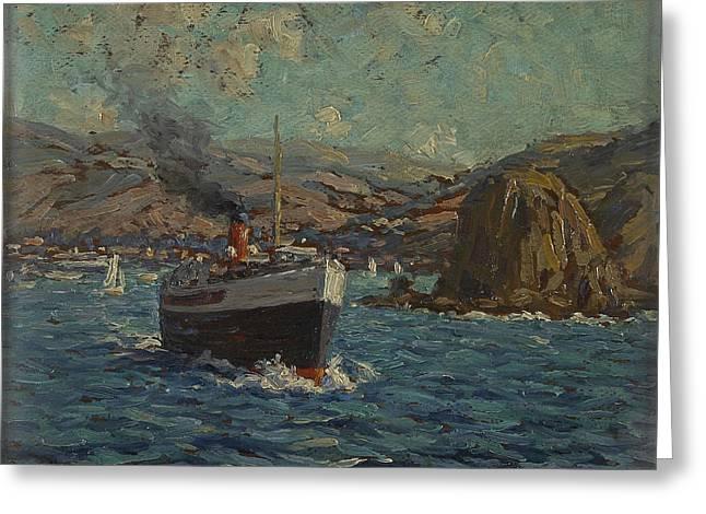 Steamer Leaving Avalon. Catalina Island Greeting Card