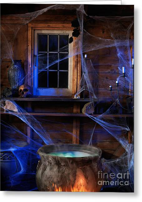 Steaming Cauldron In A Witch Cabin Greeting Card by Oleksiy Maksymenko
