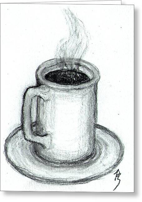 Steaming Cup Of Coffee Greeting Card by Bob Schmidt