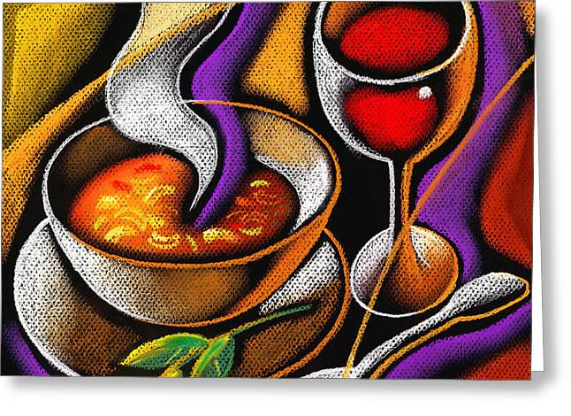 Steaming Supper Greeting Card by Leon Zernitsky