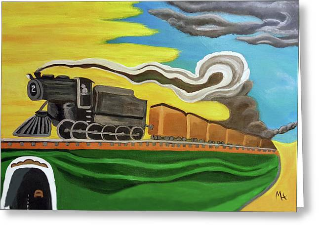 Steaming West Bound Greeting Card