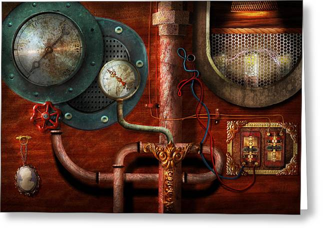 Contraption Greeting Cards - Steampunk - Controls Greeting Card by Mike Savad