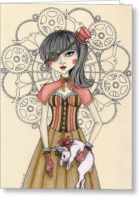 Steampunk Alice And The White Rabbit Greeting Card