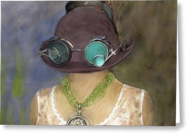 Steampunk Beauty With Hat And Goggles - Square Greeting Card