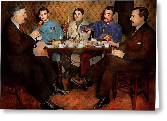 Greeting Card featuring the photograph Steampunk - Bionic Three Having Tea 1917 by Mike Savad
