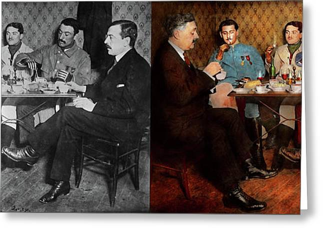 Greeting Card featuring the photograph Steampunk - Bionic Three Having Tea 1917 - Side By Side by Mike Savad