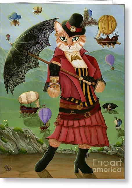 Steampunk Cat Gal - Victorian Cat Greeting Card