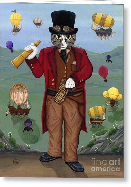 Steampunk Cat Guy - Victorian Cat Greeting Card