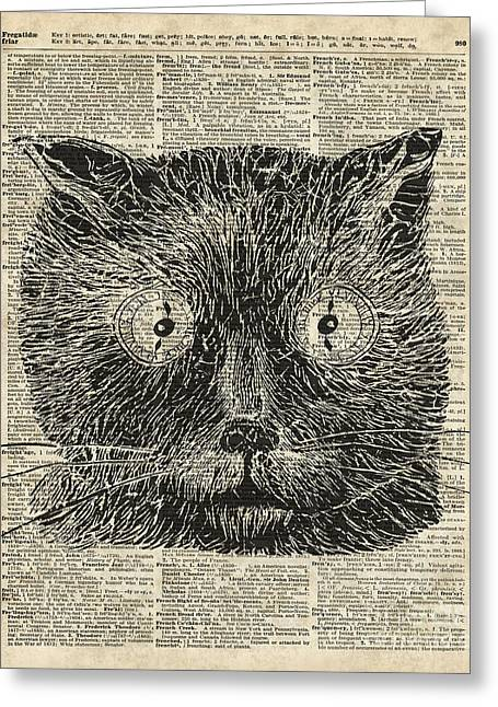Steampunk Clock Cat Eyes Greeting Card by Jacob Kuch