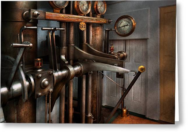 Control Room Greeting Cards - Steampunk - Controls - The Steamship control room Greeting Card by Mike Savad
