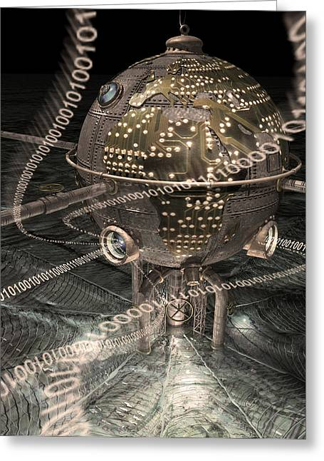 Information Greeting Cards - Steampunk Data Hub Greeting Card by Keith Kapple