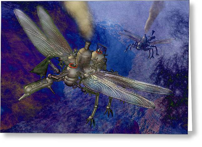 Aircraft Engine Greeting Cards - Steampunk flying machines Greeting Card by Carol and Mike Werner