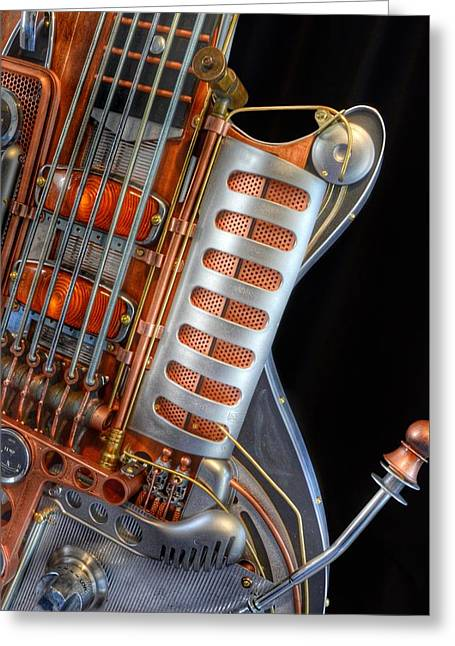 Steampunk Guitar Greeting Card by Marianna Mills