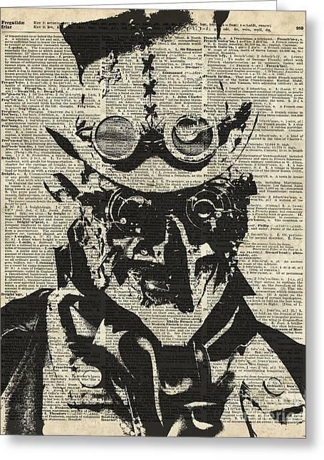 Steampunk Guy Greeting Card by Jacob Kuch